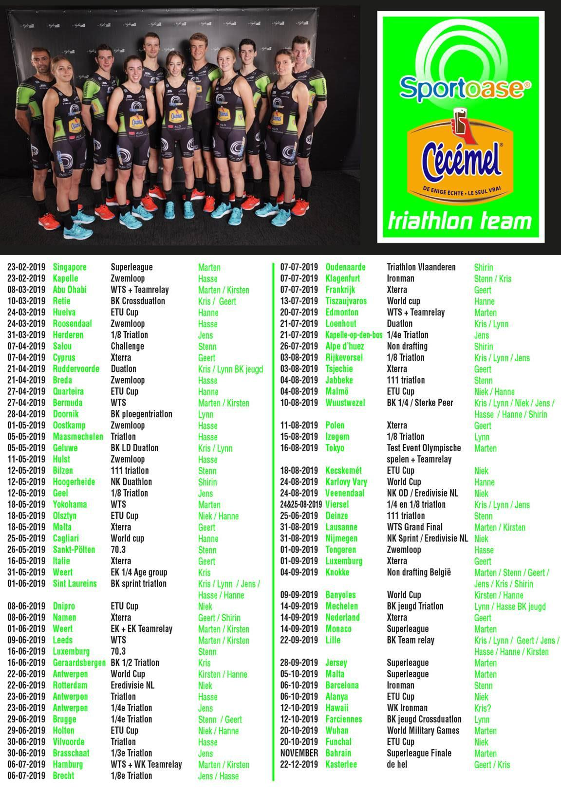 Sportoase-Cécémel Triathlon Team race calendar 2019
